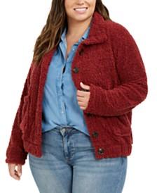 Derek Heart Trendy Plus Size Button-Down Fleece Jacket
