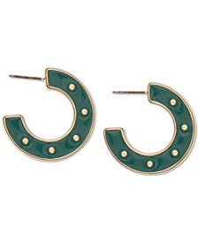 Gold-Tone Resin Button Hoop Earrings