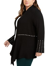 I.N.C. Plus Size Studded Cardigan Sweater, Created for Macy's