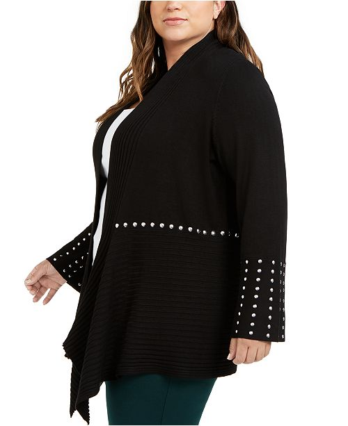 INC International Concepts I.N.C. Plus Size Studded Cardigan Sweater, Created for Macy's
