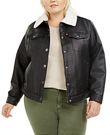 Levi's®Trendy Plus Size Faux Leather Sherpa Lined Trucker Jacket