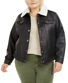 Levi's® Trendy Plus Size  Faux-Leather Fleece-Trimmed Trucker Jacket