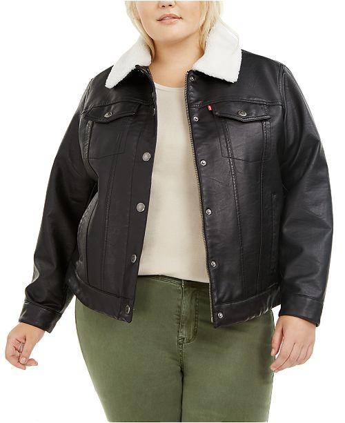 Levi's LeatherSherpa Lined Trucker Jacket