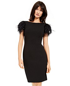 Faux-Feather Sheath Dress