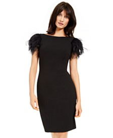 Calvin Klein Faux-Feather Sheath Dress