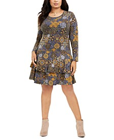 Plus Size Medallion-Print Flounce Dress