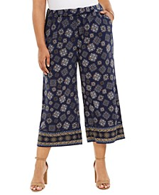 Plus Size Printed Cropped Wide-Leg Pull-On Pants