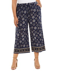 Michael Michael Kors Plus Size Printed Cropped Wide-Leg Pull-On Pants