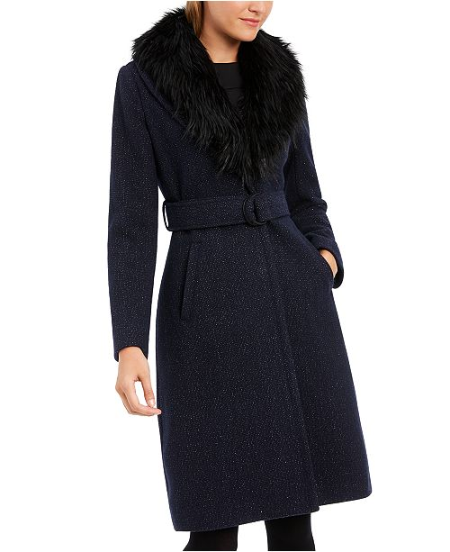 GUESS Faux-Fur-Collar Belted Walker Coat