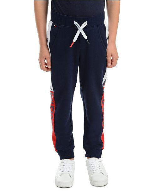 Tommy Hilfiger Little Boys Chaka Logo-Print Side Panel Fleece Sweatpants