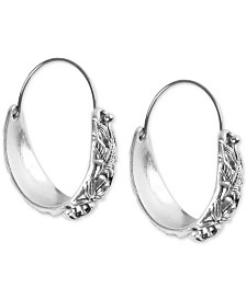 Lucky Brand Medium Silver-Tone Floral-Etched Hoop Earrings 1-1/3""