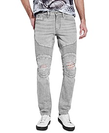 Men's Slim, Tapered Moto Jeans