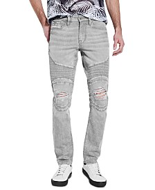 GUESS Men's Slim, Tapered Moto Jeans