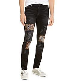 Men's Skinny Fit Leopard Patch Jeans