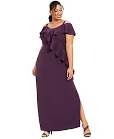 Plus Size Ruffled Cold-Shoulder Gown