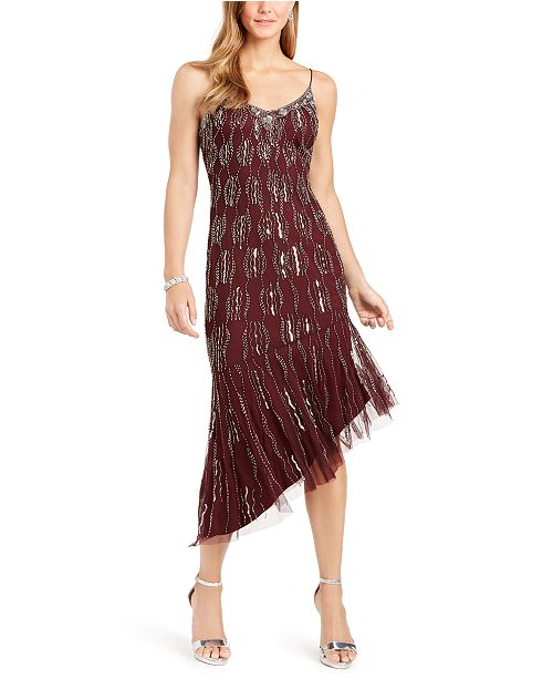 Adrianna Papell Beaded Asymmetrical Dress