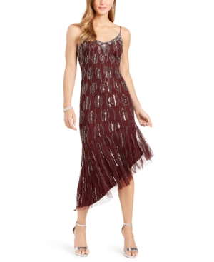 1920s Evening Dresses & Formal Gowns Adrianna Papell Beaded Asymmetrical Dress $239.00 AT vintagedancer.com