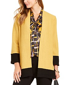 Kasper Colorblocked Open-Front Jacket
