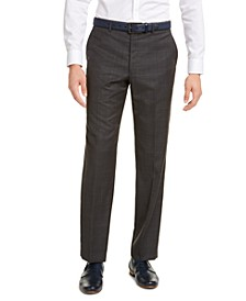 Men's Classic-Fit Airsoft Stretch Gray/Blue Windowpane Suit Pants
