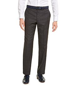 Michael Kors Men's Classic-Fit Airsoft Stretch Gray/Blue Windowpane Suit Pants