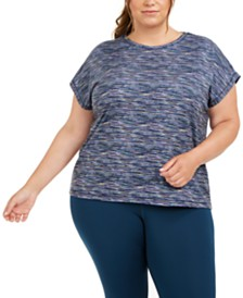 Ideology Plus Size Printed Dolman-Sleeve T-Shirt, Created for Macy's