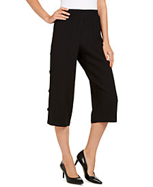 JM Collection Side-Button Textured Capris, Created for Macy's