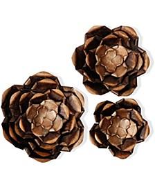 Copper Flower Power Metal Art - Set Of 3
