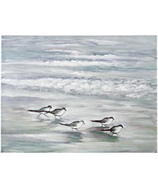 Curious Birds at Sea Hand Painted Canvas