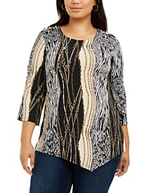 Plus Size Printed 3/4-Sleeve Asymmetric Top