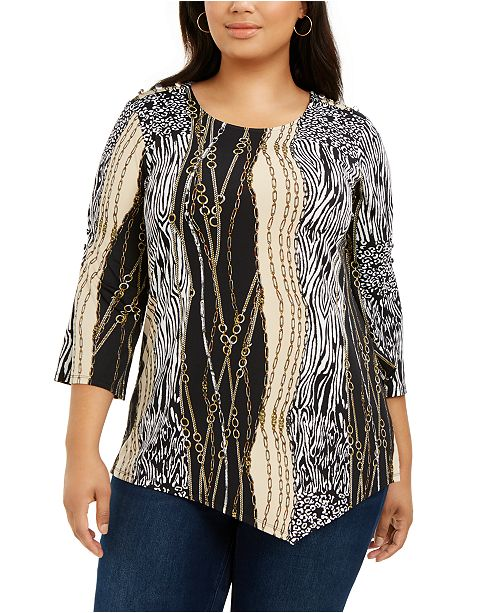 NY Collection Plus Size Printed 3/4-Sleeve Asymmetric Top