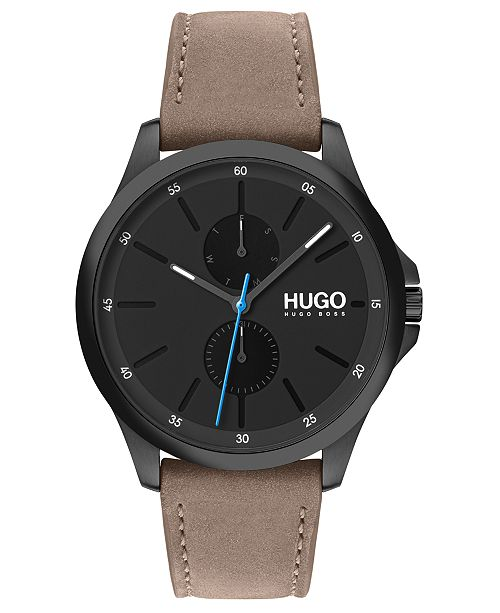 HUGO Men's #Jump Beige Leather Strap Watch 40mm