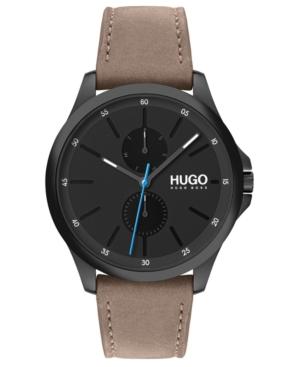 Hugo Men's #Jump Beige Leather Strap Watch 40mm
