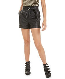 Faux-Leather Paper-Bag Waist Shorts, Created for Macy's