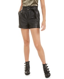 Bar III Faux-Leather Paper-Bag Waist Shorts, Created for Macy's