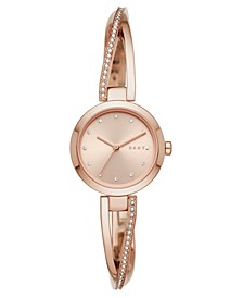 Women's Crosswalk Rose Gold-Tone Stainless Steel Bangle Bracelet Watch 26mm