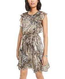 Ruffled Snake-Embossed Mini Dress, Created for Macy's