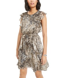 Bar III Ruffled Snake-Embossed Mini Dress, Created for Macy's
