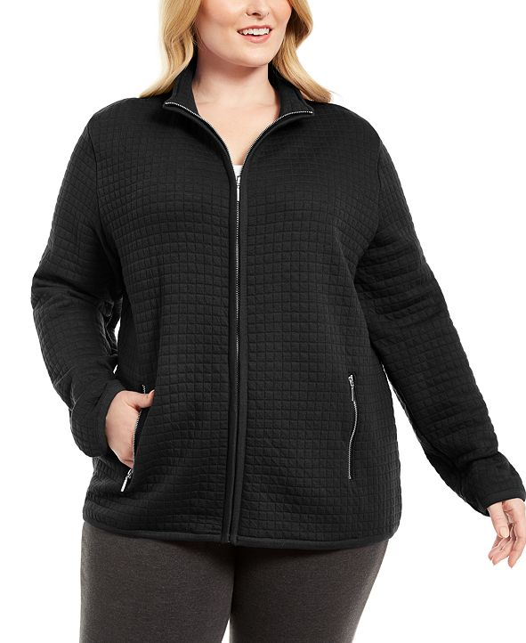 Karen Scott Plus Size Quilted Fleece Jacket, Created for Macy's