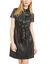 Bar III Short-Sleeve Faux-Leather Shirtdress, Created For Macy's