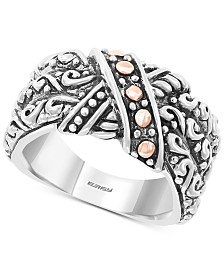 EFFY® Decorative Two-Tone Statement Ring in Sterling Silver & 18k Rose Gold