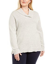 Plus Size Marled Cotton Shawl-Collar Sweater, Created for Macy's