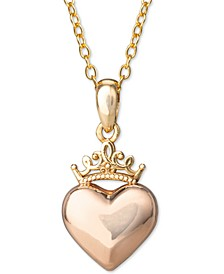 "Children's Heart & Crown 15"" Pendant Necklace in 14k Yellow Gold and 14k Rose Gold"