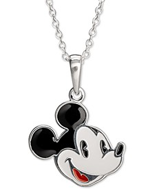 """Children's Enamel Mickey Mouse 16"""" Pendant Necklace in Sterling Silver"""