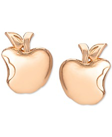Disney© Children's Snow White Poison Apple Stud Earrings in 18k Rose Gold-Plate Over Sterling Silver