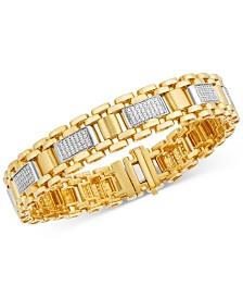 Men's Diamond Cluster Watch Link Bracelet (1-1/2 ct. t.w.) in 10k Gold
