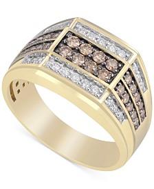 Men's White & Brown Diamond Ring (1 ct. t.w.) in 10k Gold