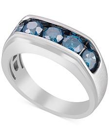 Men's Blue Diamond Ring (2 ct. t.w.) in Sterling Silver