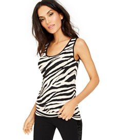 I.N.C. Zebra-Print Sweater Tank Top, Created For Macy's