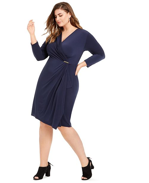 Plus Size Surplice Crossover Dress, Created for Macy\'s