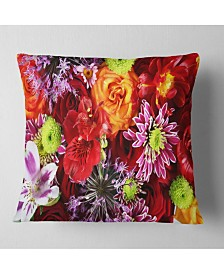 """Designart Colorful Flowers Background Floral Throw Pillow - 26"""" x 26"""""""